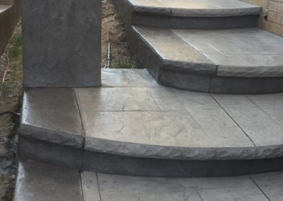 patterned grey steps and column